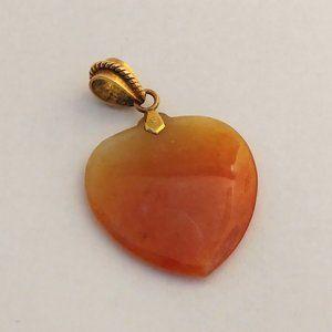 Natural Orange Jade Heart Pendant 14K Bail
